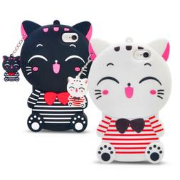 3D Cute Cartoon Stripe Lucky Cat Silicone Mobile Phone Cases