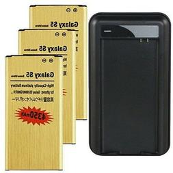 3x 4350mAh Gold Battery + Dock Charger For Samsung Galaxy S5