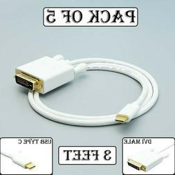 5x 3FT USB-C 3.1 Type C to DVI Cable 1080p Monitor MacBook G