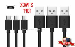 Black 3x 10FT Rapid Charge Micro USB Cable Fast Charger Long