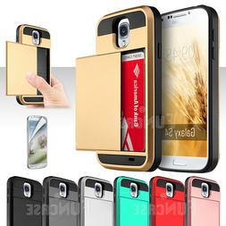 For Samsung Galaxy S3 S4 S5 Card Wallet Pocket ShockProof Sl
