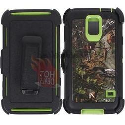 For Samsung Galaxy S5 Green/Tree Camo Defender Case Cover