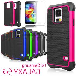 For Samsung Galaxy S5 Shockproof Hybrid Rugged Hard Case+Tem