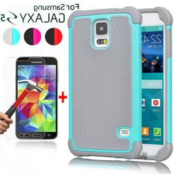 For Samsung Galaxy S5 Case Armor Hybrid Rugged Hard Cover+Gl