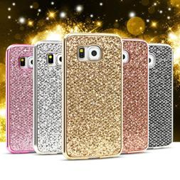 For Samsung Galaxy S9 S6 S7 S5 S8 Plus Bling Plating Soft Ru