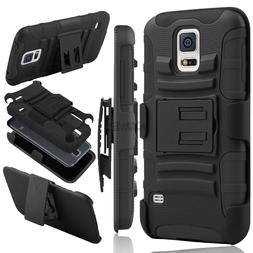 Hybrid Rubberized Hard Phone Case Belt Clip Holster Stand Fo