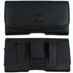 Leather Belt Clip Case Holster for Samsung Phones fits WITH