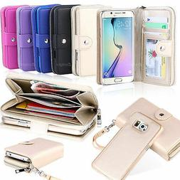 Leather Zipper Wallet Card Slot Case Cover For Samsung Galax