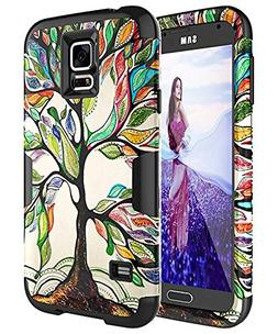 Samsung Galaxy S5 Case Hybrid Rubber Cover 3in1 Hard Plastic