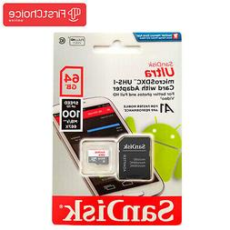 SanDisk Ultra 64GB MicroSDHC UHS-I Card With Adapter for Sma