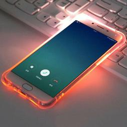 TPU LED Flash Light Up Incoming Call Clear Back Case Cover F