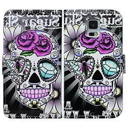 Bfun Packing Purple Flower Skull Card Slot Wallet Leather Ca