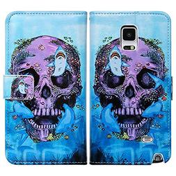 Bfun Packing Bcov Purple Skull Shark Leather Wallet Cover Ca