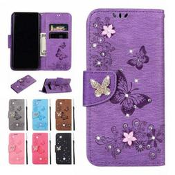 Butterfly Bling Leather Wallet Case Cover For Samsung Galaxy