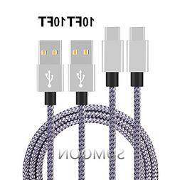 Type C Cable, MCUK 3 Pack 3Ft Nylon Braided Charging Cord fo