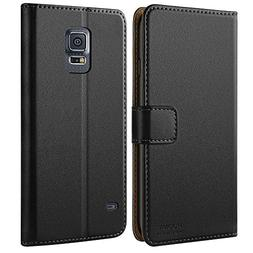 HOOMIL Case Compatible with Samsung Galaxy S5, Premium Leath