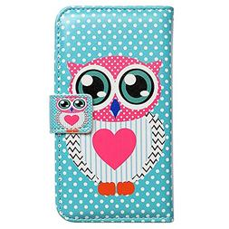 Bcov Brand Cute Pink Owl Polka Dot Wallet Leather Cover Case