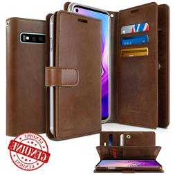 For Galaxy S10 5G Note 9 A6 Plus Leather Flip Wallet Case Du