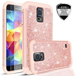 Galaxy S5 Glitter Case with Tempered Glass Screen Protector,
