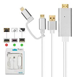 HDMI Adapter for iPhone/Android, ZIKO 2m/6.5ft Lighting to H