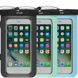iBarbe 3 Pack Waterproof Case, Universal Cell Phone Plasic T