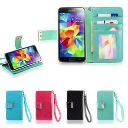 IZENGATE ID Wallet Flip Case PU Leather Cover Folio for Sams