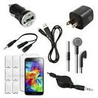 12pc Bundle Black USB Cable+Wall/Car Charger+Headset for Sam