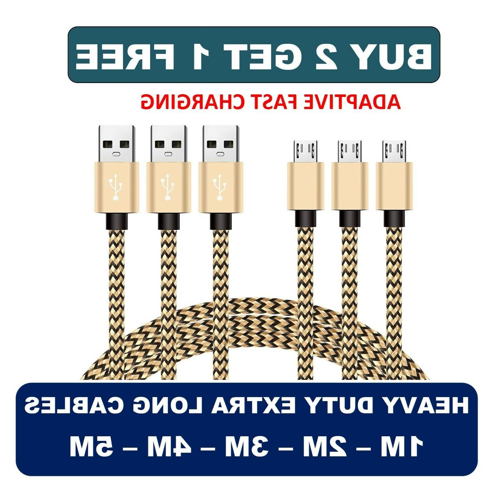 1M 2M 3M 4M 5M Micro USB FAST Data Charger Cable Lead for Sa