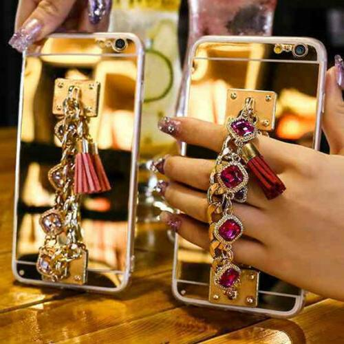 3D Girls' Mirror Bling Diamond Rhinestone Stones Tassel Phon
