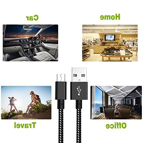3Pack USB Short Braided Speed Android Charger for Galaxy S7/S6/S5,Note Sony