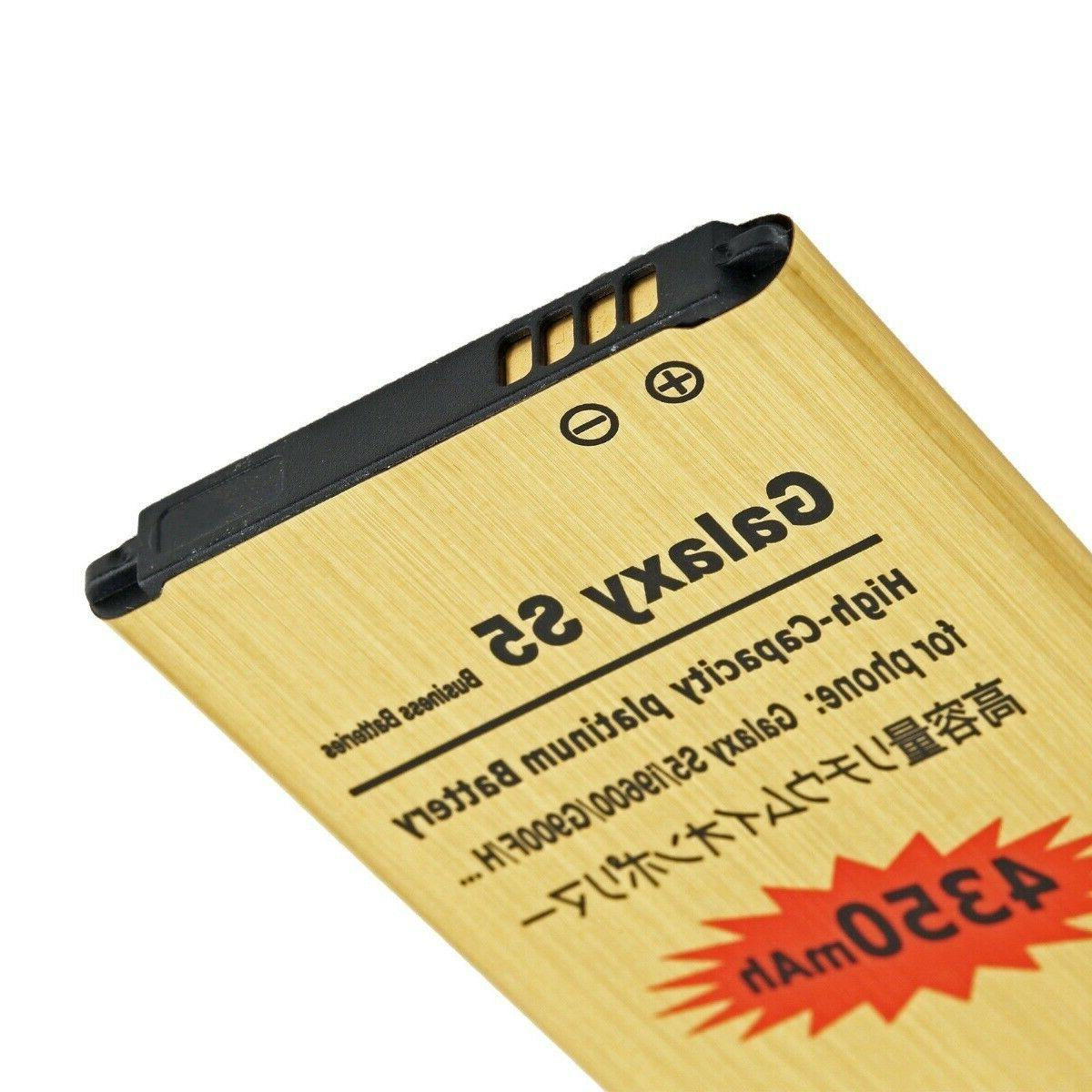 4350mAh High-Capacity Gold Battery & Charger for Galaxy G900A