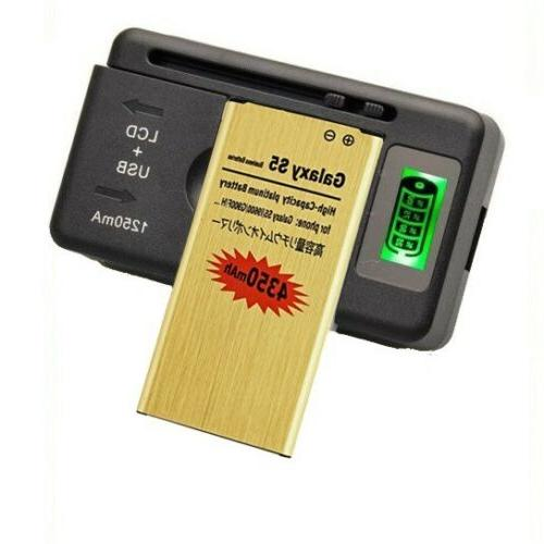 4350mAh Gold Battery & Charger for Galaxy G900A