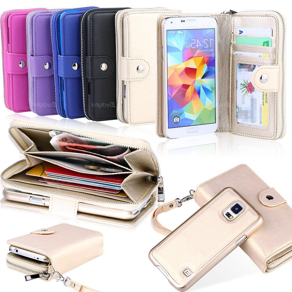 All in One Zip Purse Wallet Leather Case For Samsung Galaxy