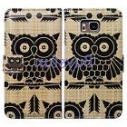 Bcov Black Owl Pattern Leather Wallet Cover Case For Samsung