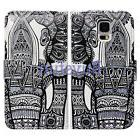 Bcov Black Tribal Floral Elephant Wallet Leather Case For Sa
