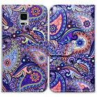 Bcov Purple Paisley Leather Wallet Case Cover For Samsung Ga