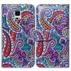 Bcov Red Blue Paisley Leather Wallet Case Cover For Samsung
