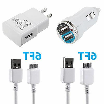 Car Charger + Wall Charger + 2x Data Sync Cable For Samsung