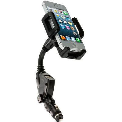 Dual USB 2-Port Car Charger Mount Holder Black for Cell Phon