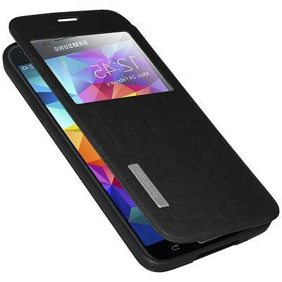 FLIP CASE STAND COVER WITH SWIPE WINDOW FOR SAMSUNG GALAXY S