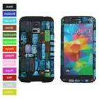 For Samsung Galaxy S5 Colorful Mosaic Stone Hybrid Rugged Ar