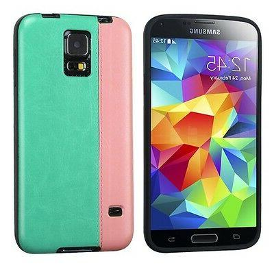 For Samsung Galaxy S5 - HARD RUBBER TPU FABRIC LEATHER CASE