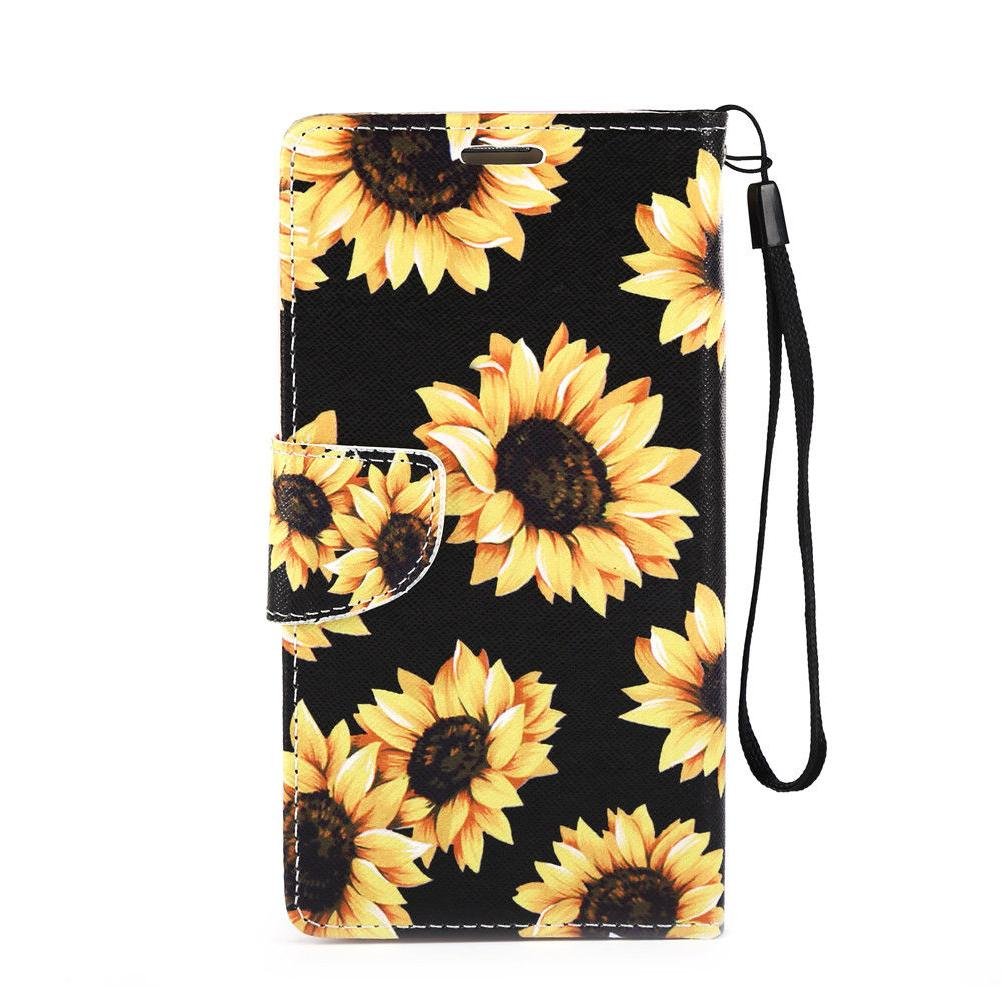 For Samsung Galaxy S5 Note 3/2 Sunflower Pu Leather Flip Sta