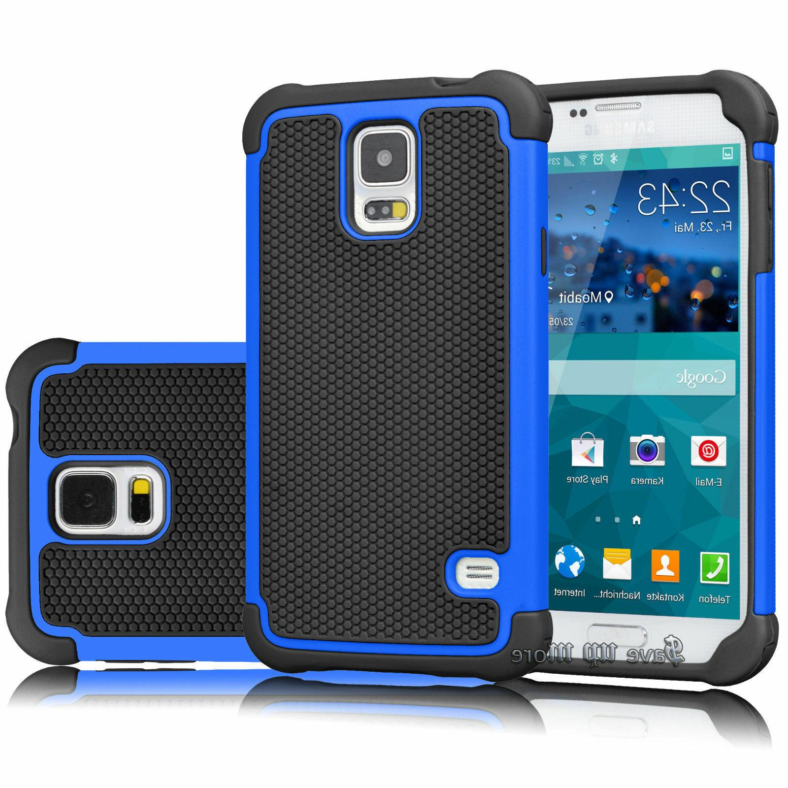 For S5 Case Hybrid Rugged Hard Cover+Glass