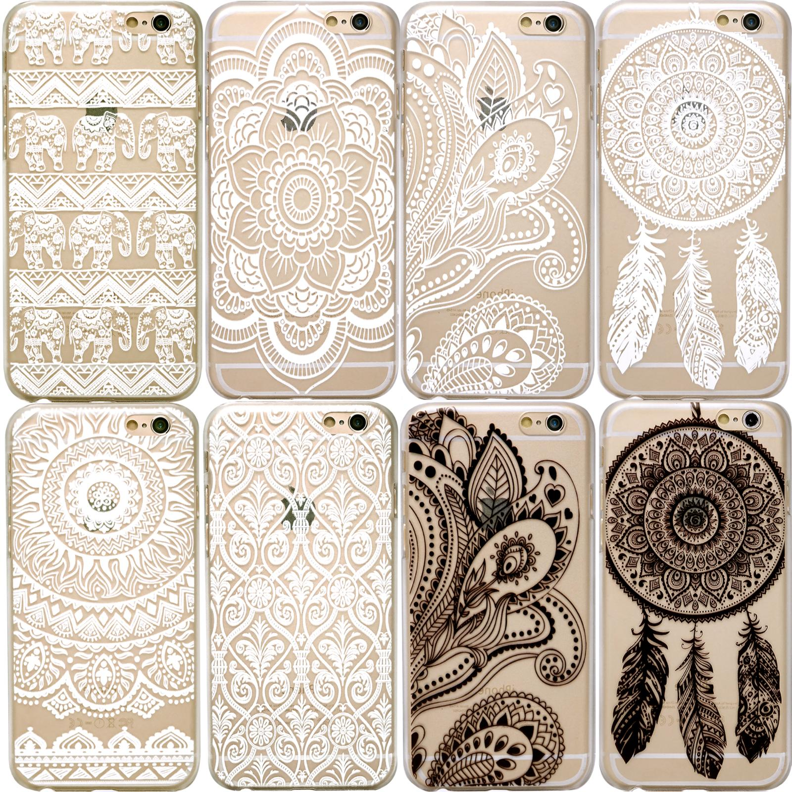 HENNA Dream Catcher Elephant Flower Clear Phone Case iPhone