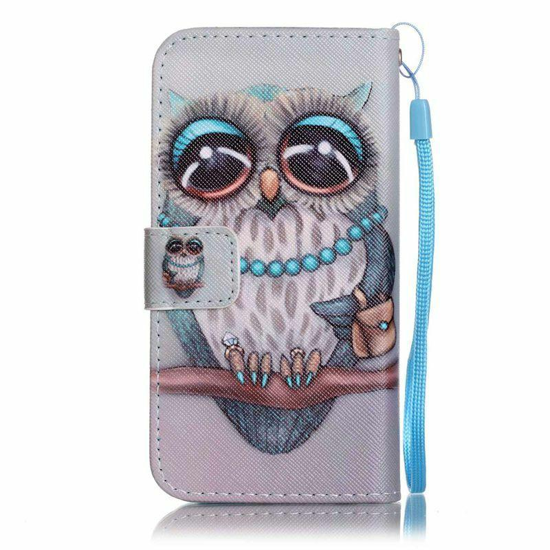 Jewelry Owl Flip PU Leather Wallet Case Cover Stand Card Slo