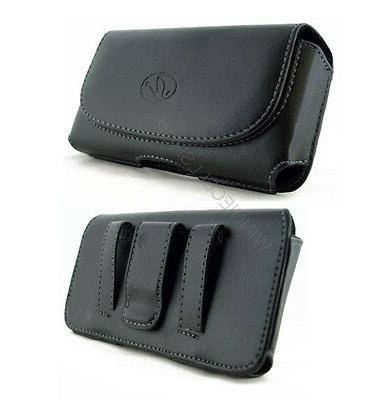 Leather Sideways Belt Clip Case Pouch Cover with Loops for T