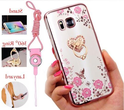 US Bling ShockProof Silicone TPU Soft Clear Case Stand Cover