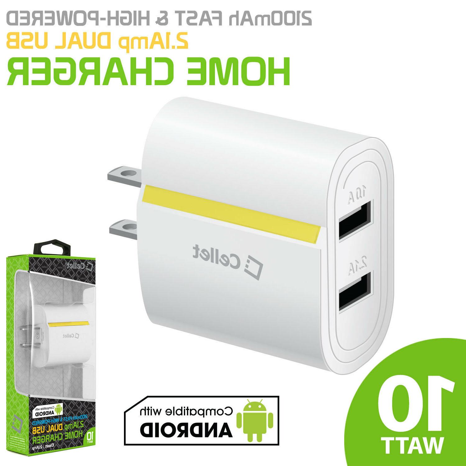 Universal Fast 2.1 Amp Dual USB Port Home Wall Travel Charge