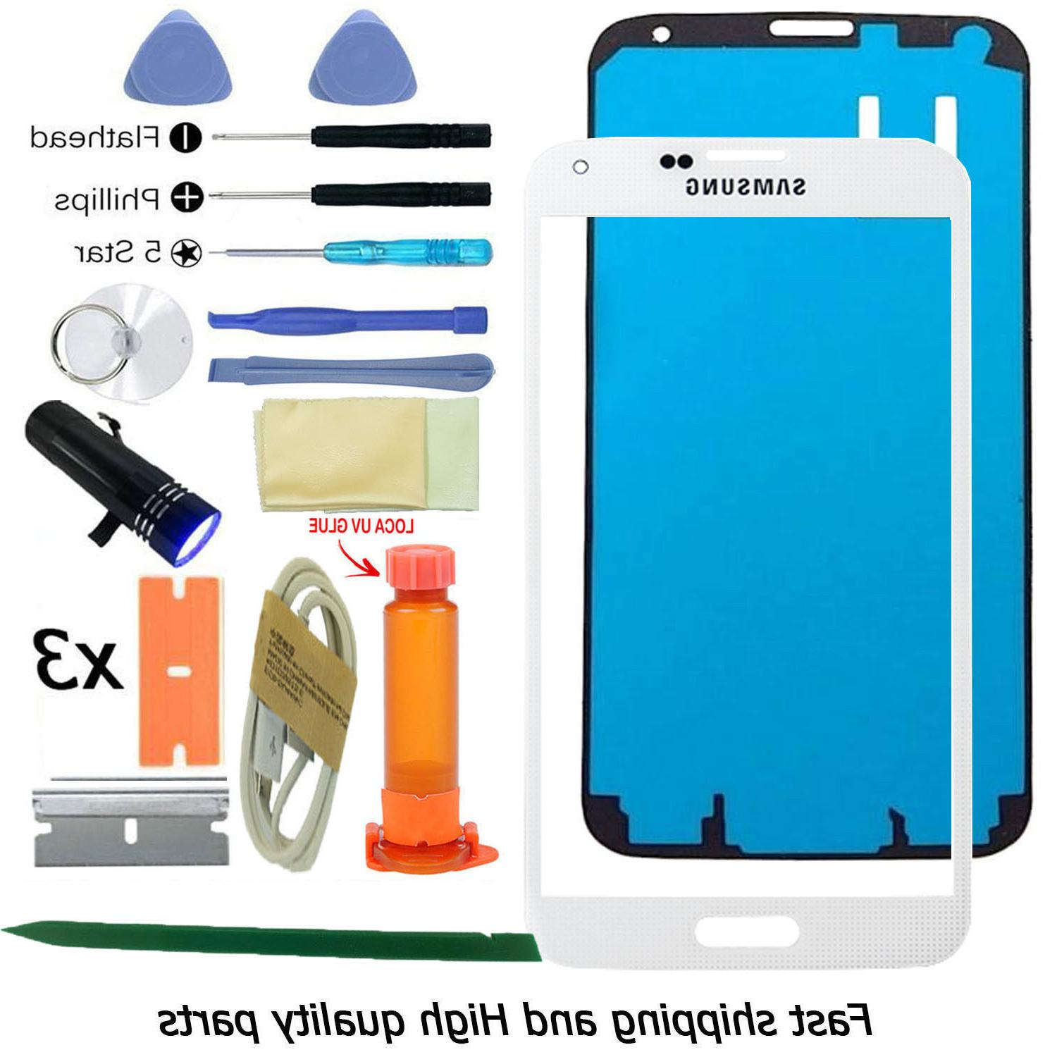 White Replacement Front Outer Screen Glass Lens For Samsung